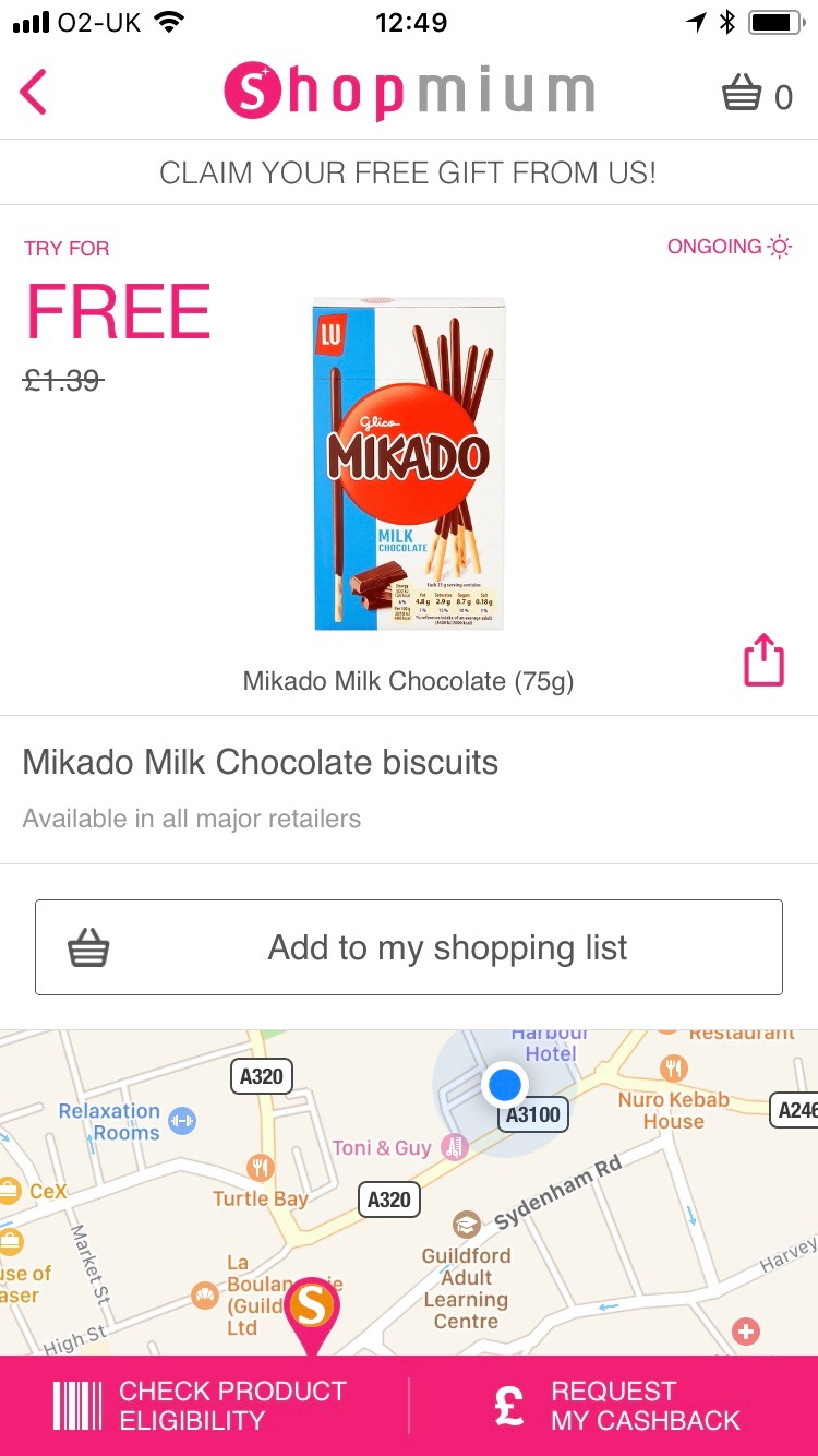 free pack of mikados on shopmium
