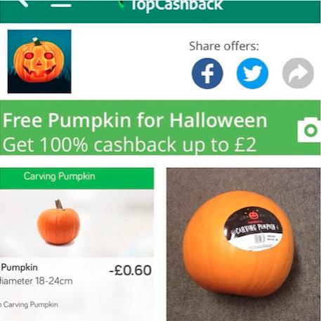 free pumpkin topcashback cashback app