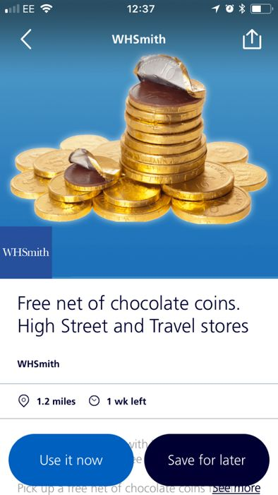 free chocolate coins on O2