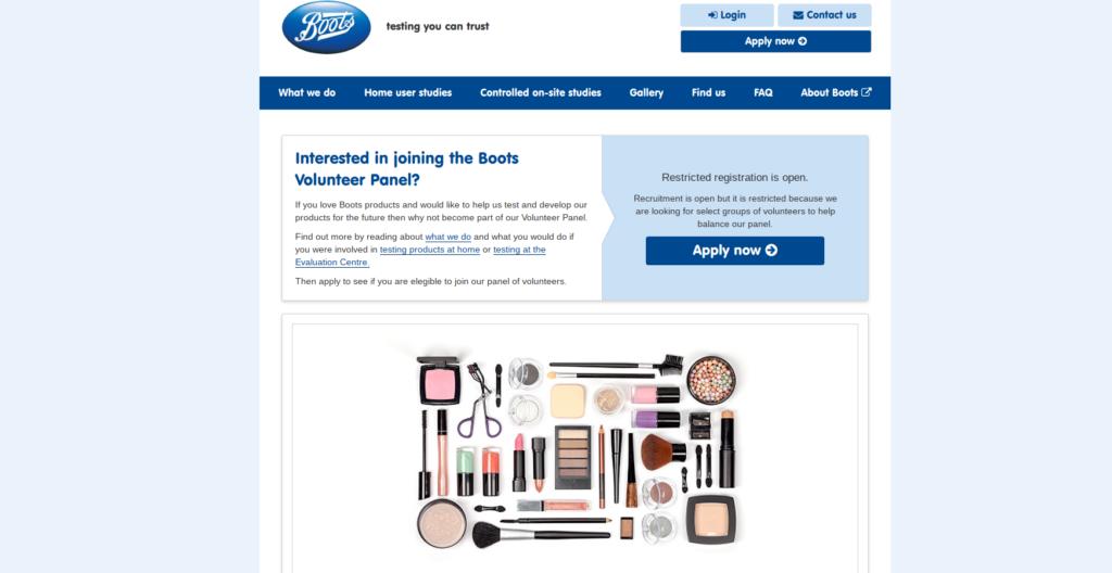 Boots volunteers product testing opportunities website