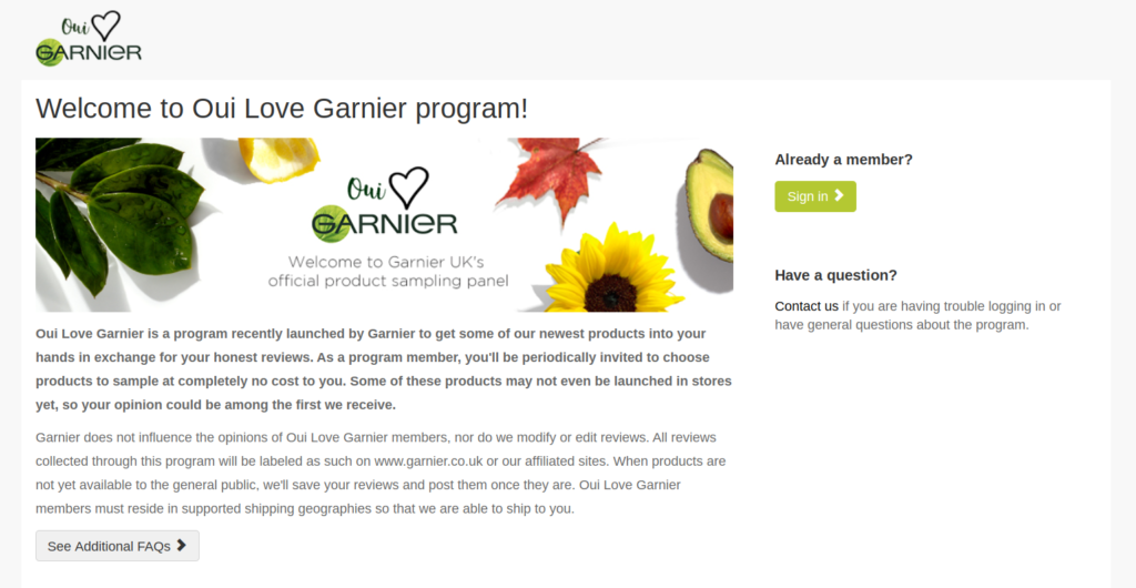 Free stuff from Garnier with Oui Love Garnier product testing