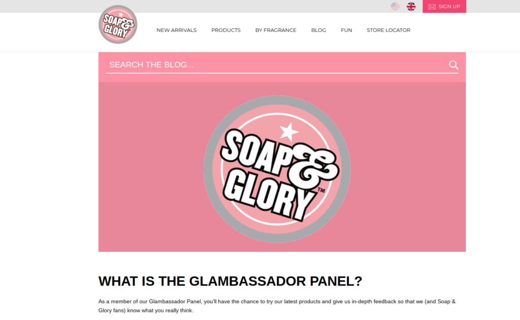 Soap & glory blambassador product testing panel