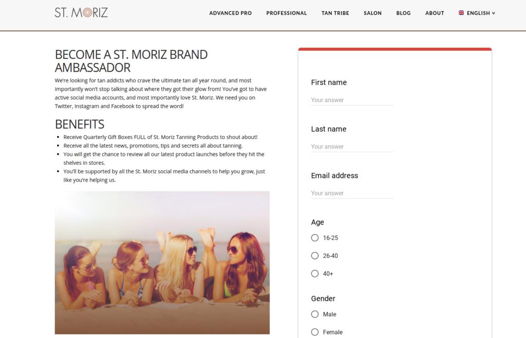 St Moriz product testing ambassador
