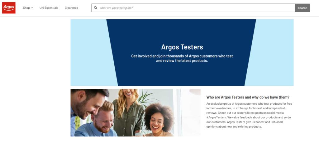 Argos testers website