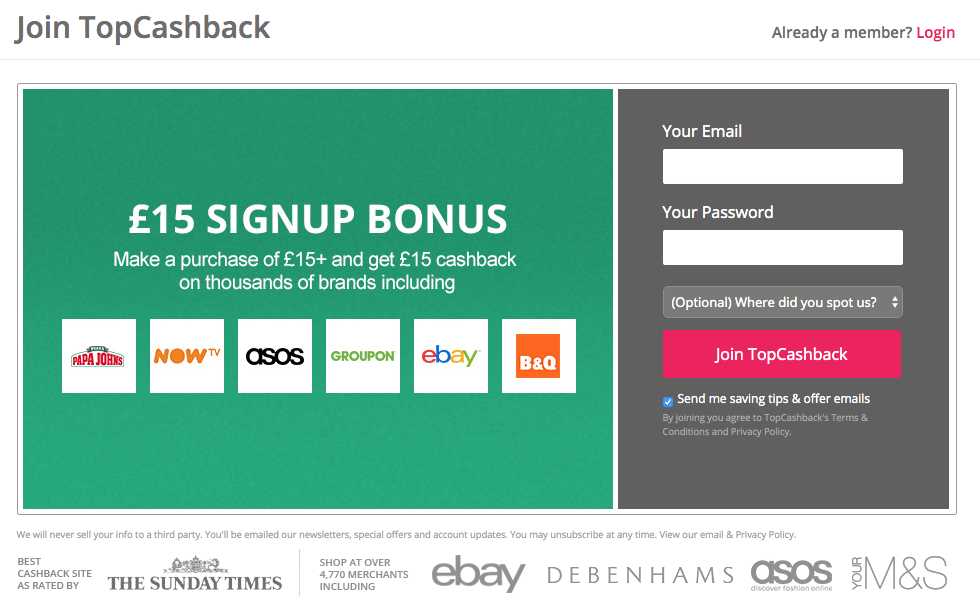 topcashback £15 bonus welcome offer