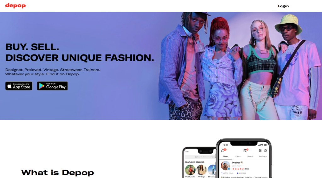 Depop clothing site and app