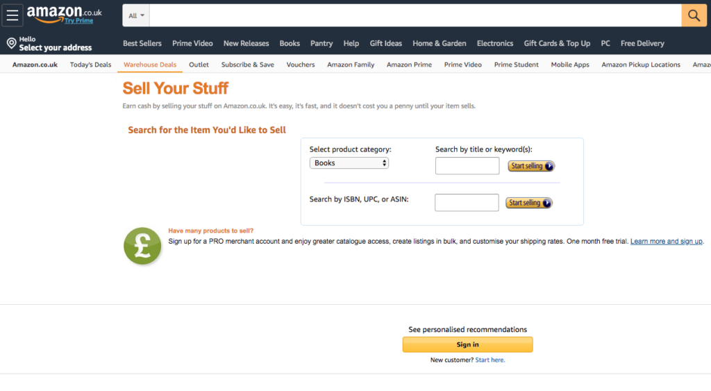 Amazon sell your stuff site