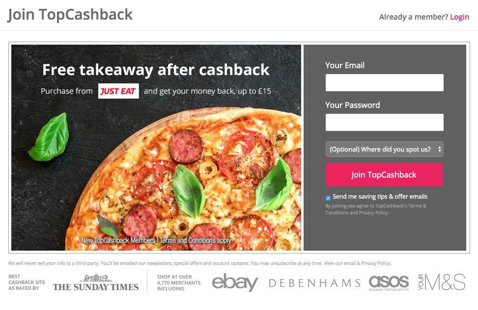 free topcashback just eat takeaway