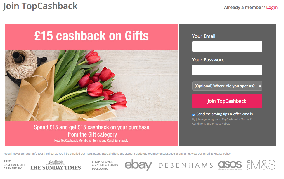 free £15 cashback on gifts