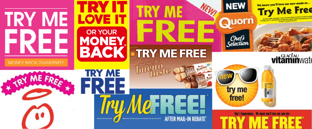 try me for free supermarket campaigns