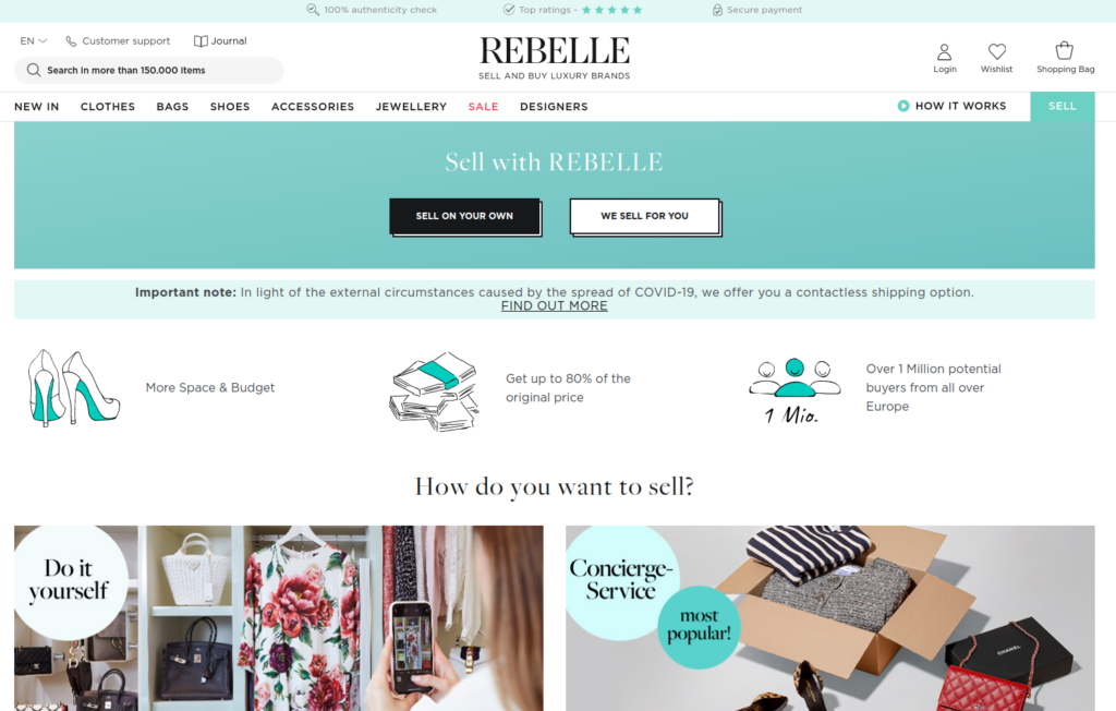 rebelle selling clothes online
