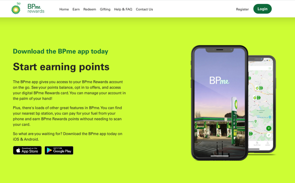 BPme rewards loyalty app