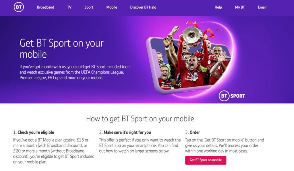 BT Mobile BT Sport
