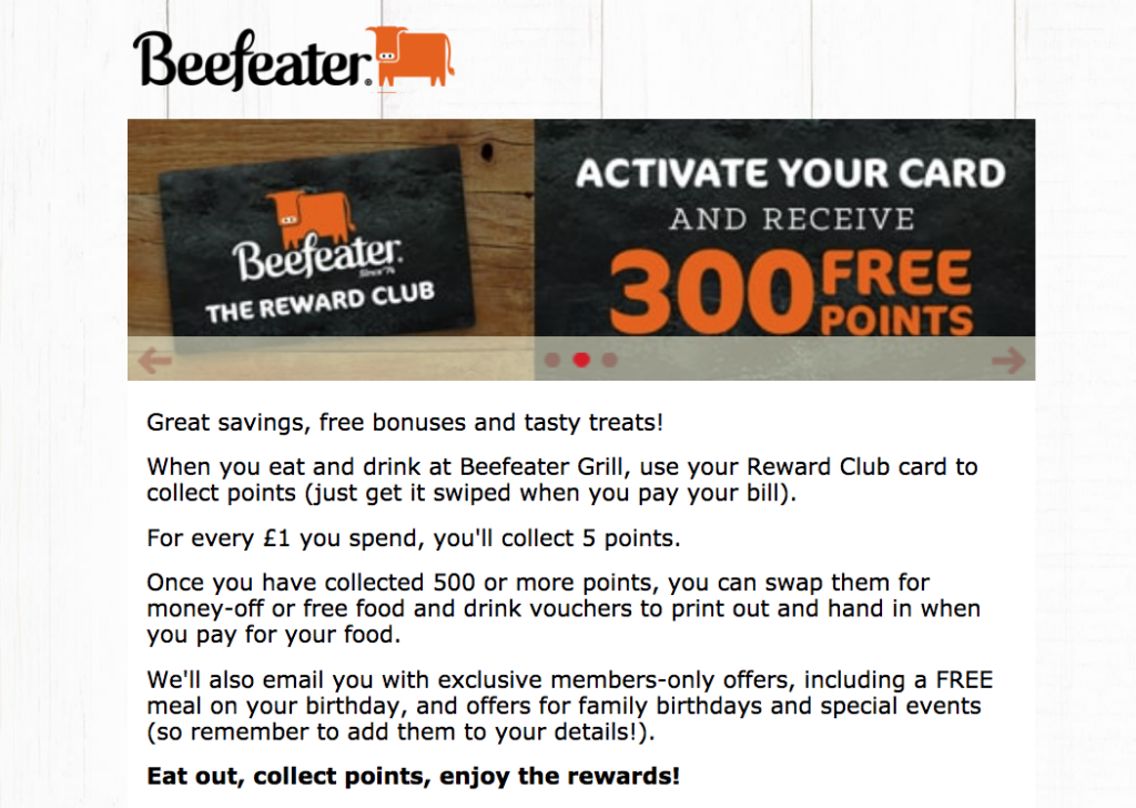 Beefeater rewards club