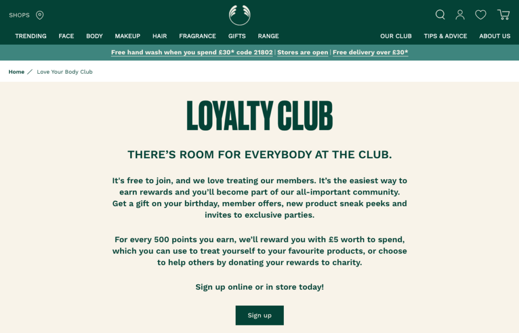 The Body Shop love your body loyalty card