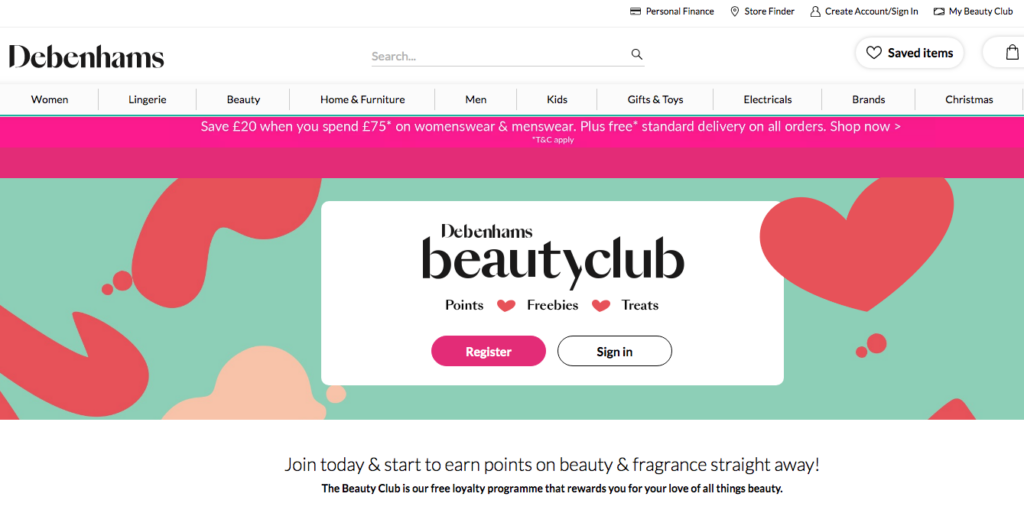 Debenhams beauty club loyalty card