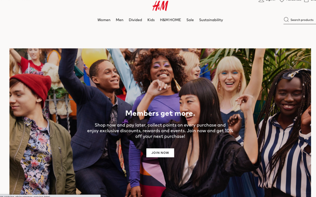 H&M Membership loyalty scheme