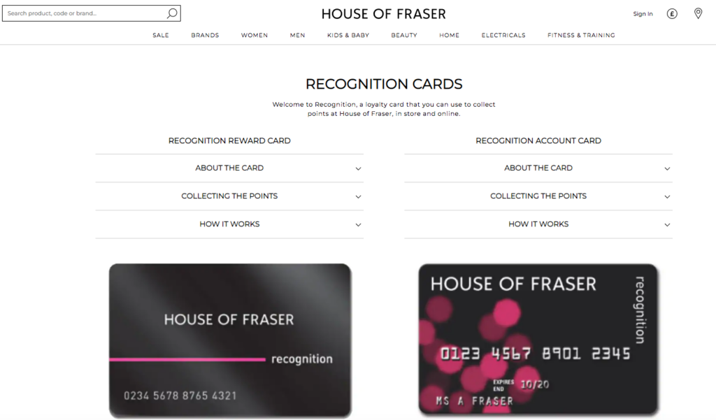 House of Fraser Recognition card