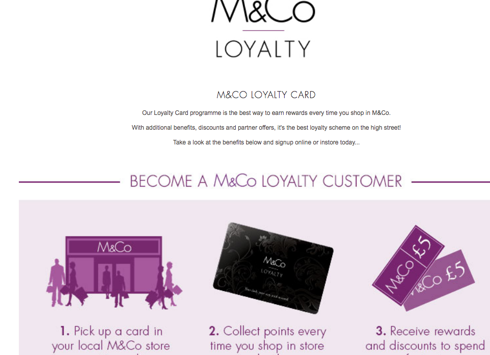 M&Co loyalty card