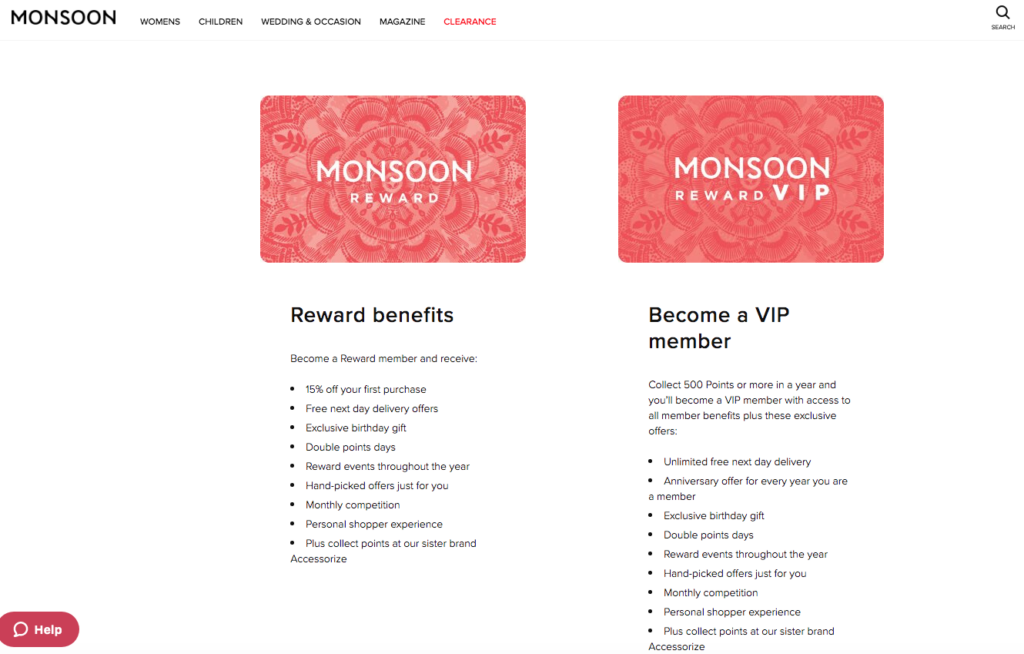 Monsoon rewards loyalty card