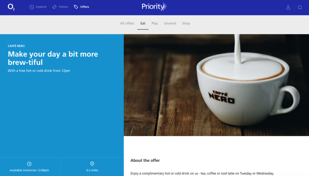 O2 Priority loyalty app Caffe Nero freebie