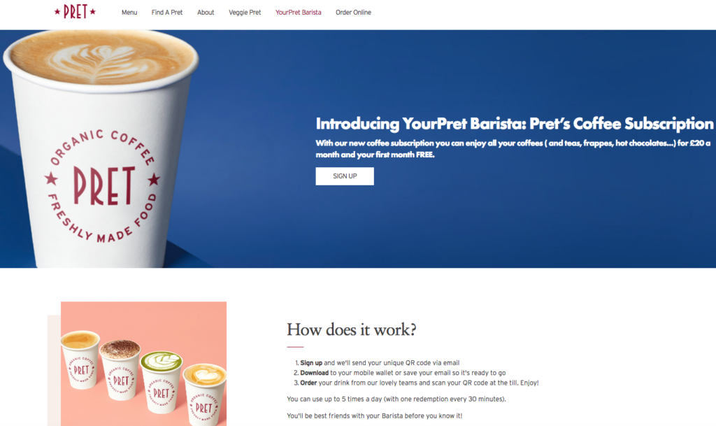 Pret coffee subscription