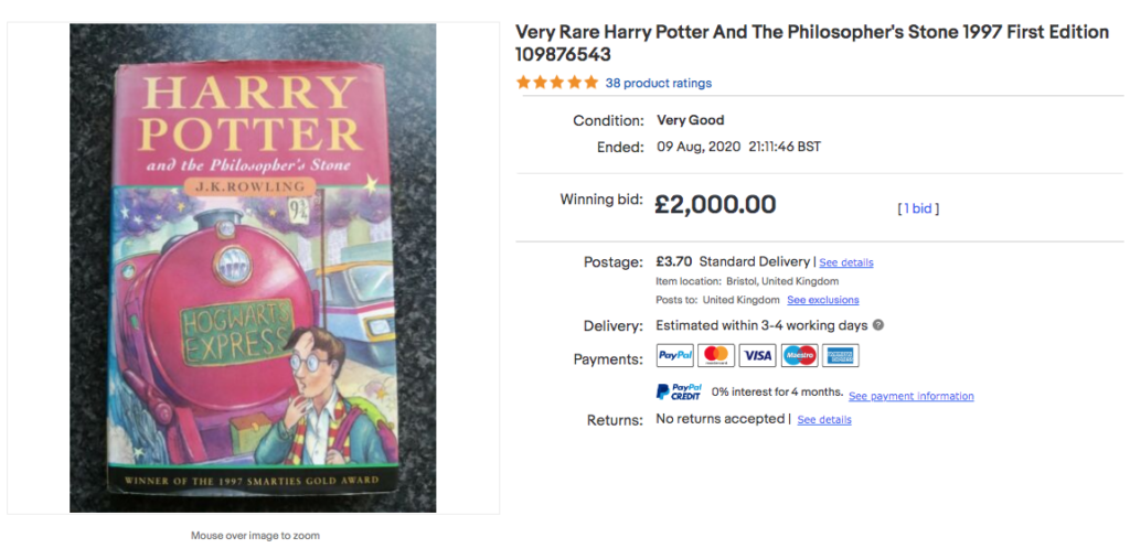 sell Harry Potter books online - first edition The Philosopher's Stone
