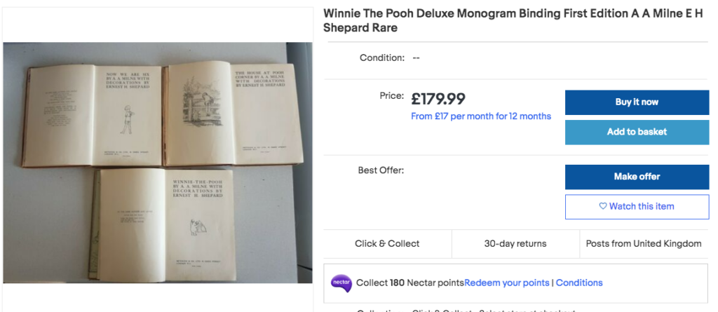 sell books on ebay - winnie the pooh collection rare
