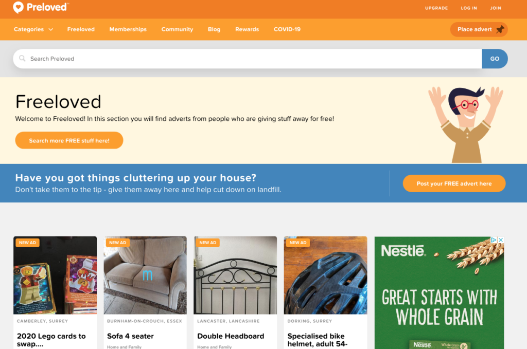 Freeloved local selling site free furniture