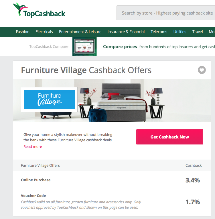 furniture village cashback offers TopCashback