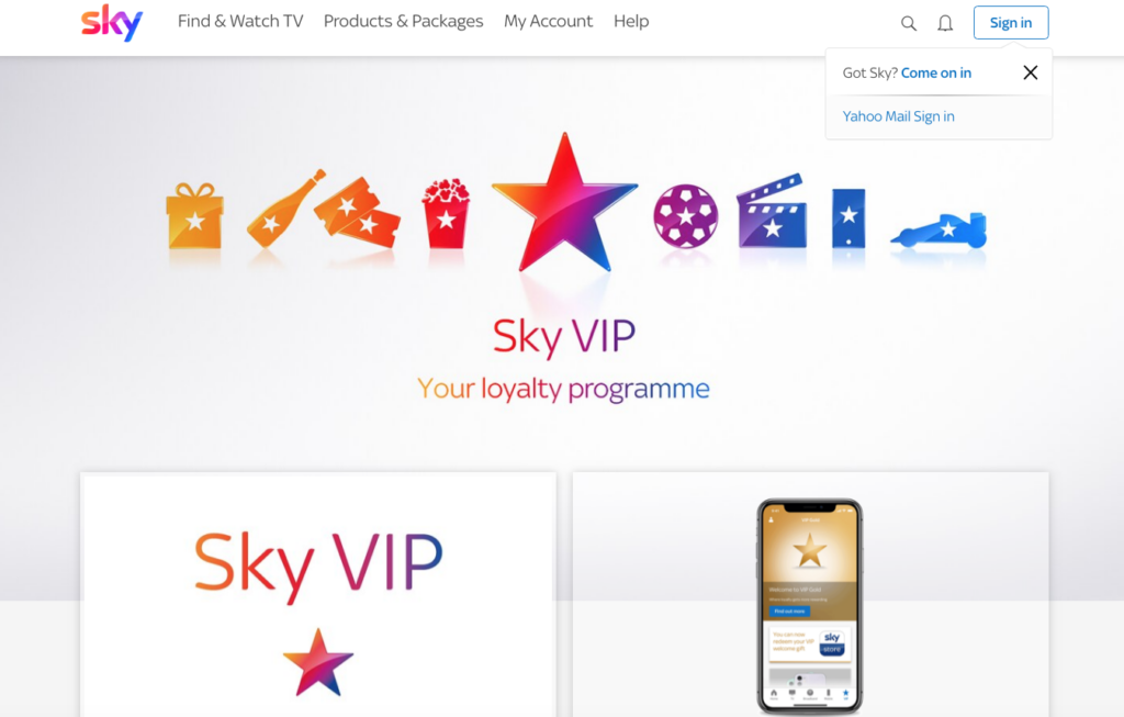 SKY VIP rewards