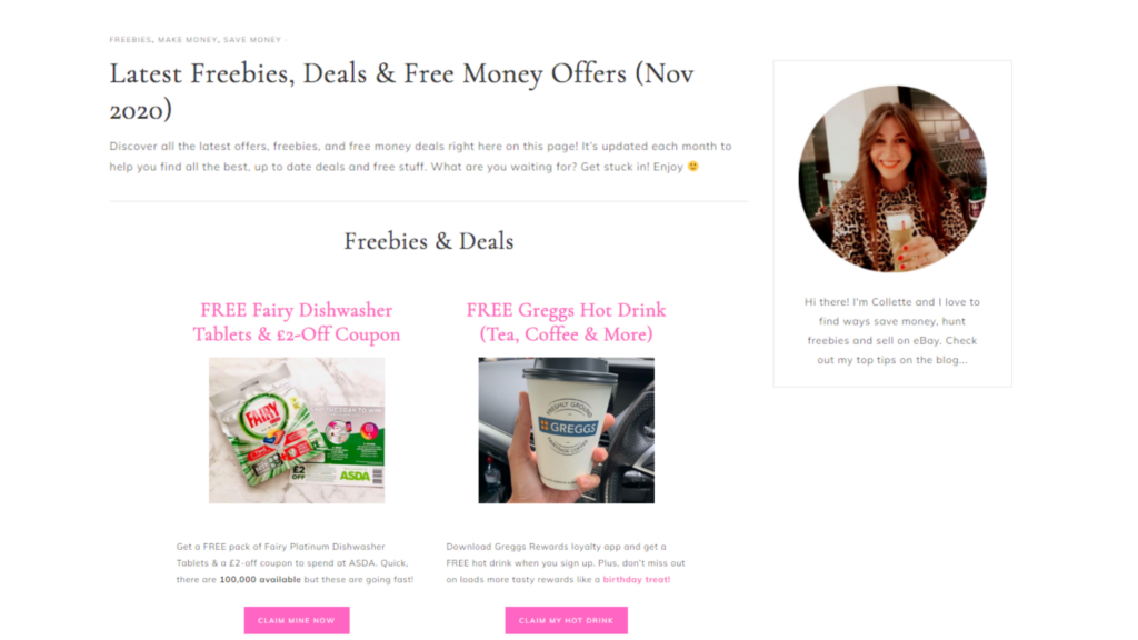 freebies and free stuff Cashback Collette latest offers