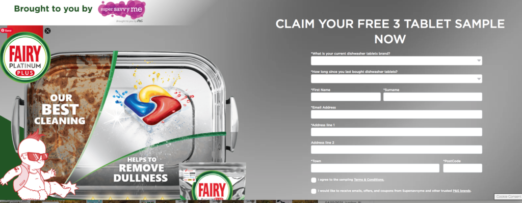 Free Fairy dishwasher tablet sample & coupon from Super Savvy Me