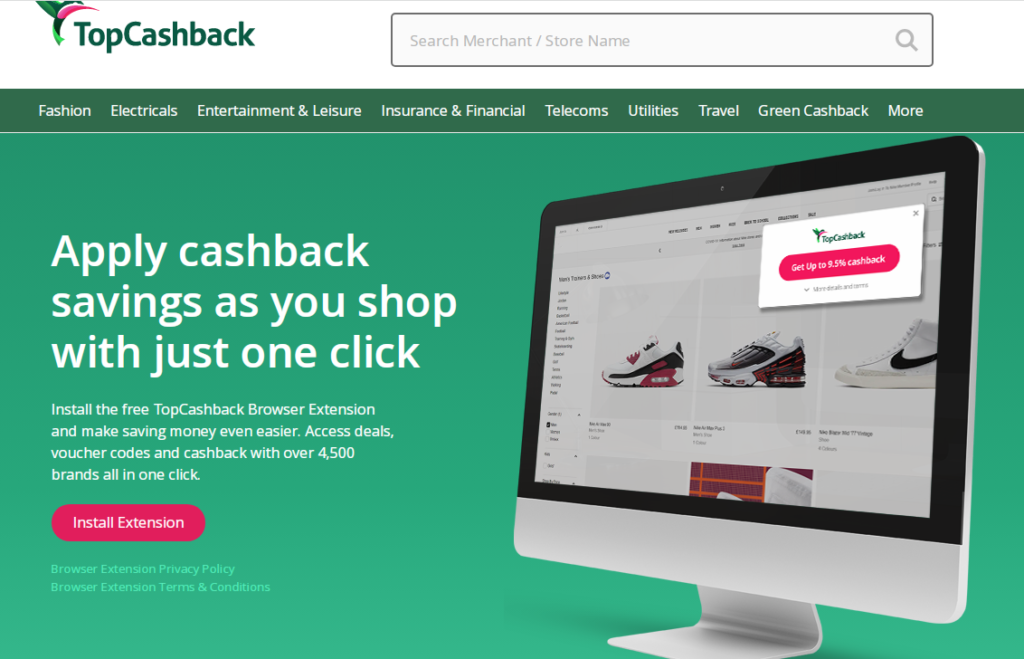Browser extensions: TopCashback