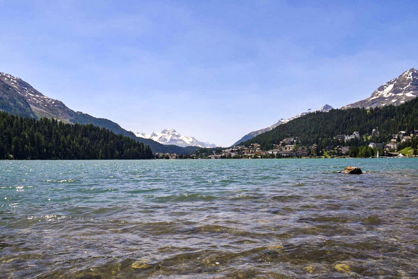 Lake St Moritz in Switzerland. A Magical Day on the Bernina Express