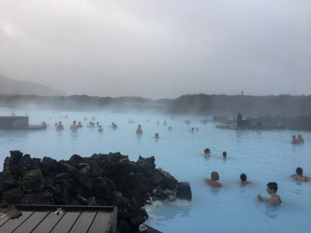 The blue lagoon is a great way to warm up in Iceland in winter.