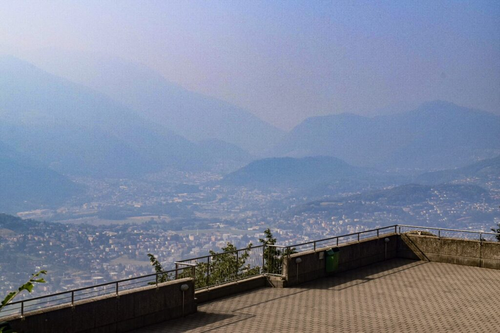 Rolling hills from a viewing platform on Monte San Salvatore in Lugano.