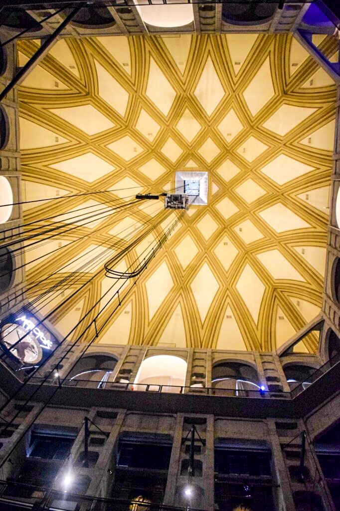 The golden ceiling of the Nationals Museo del Cinema in Turin, a perfect city to visit on a day trip from Milan.