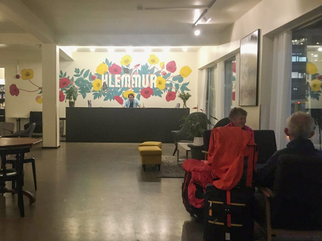 The lobby area of Hlemmur Square Hostel in Reykjavik, a good hostel for travelling Iceland on a budget.