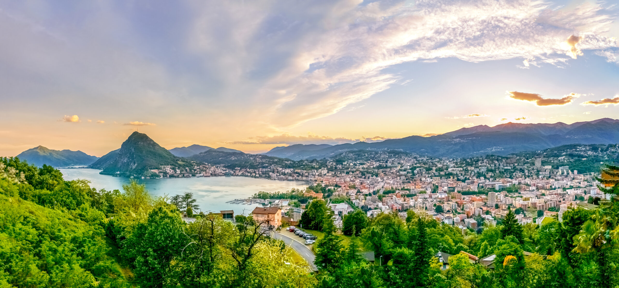 A view of Lugano, Switzerland, from above. A perfect day trip from Milan to Lugano