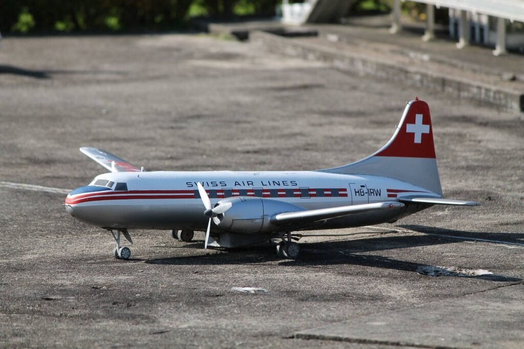 A stock photo of a miniature Swiss airlines plane at Swissminatur model country in Lugano.