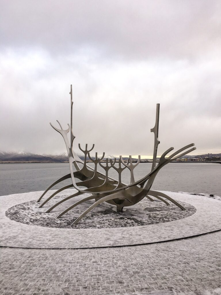 Sun voyager sculpture in Reykjavik, a budget activity for the solo traveller.