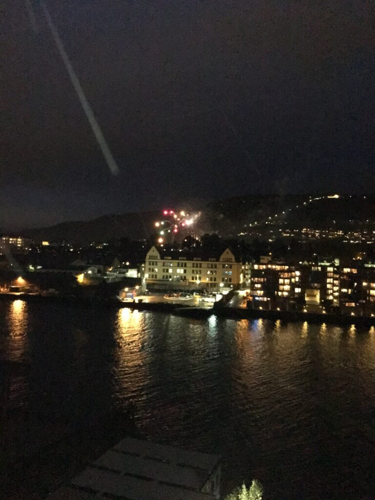 Fireworks going off over the city at night on the last of our 5 days in Bergen.