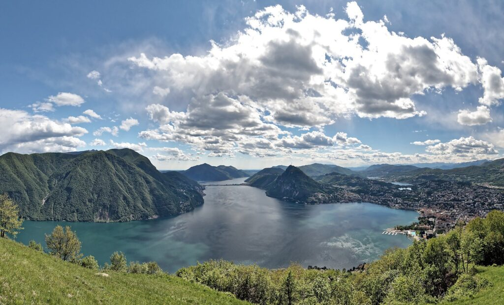 Stock photo from pixabay. The view from Monte Bre in Lugano, an easy day trip from Milan.