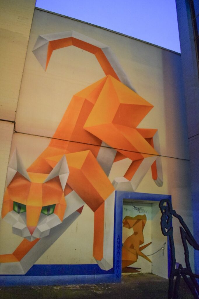 A large scale geometric cat and mouse mural by street artist Annatomix in the Custard Factory, Birmingham.