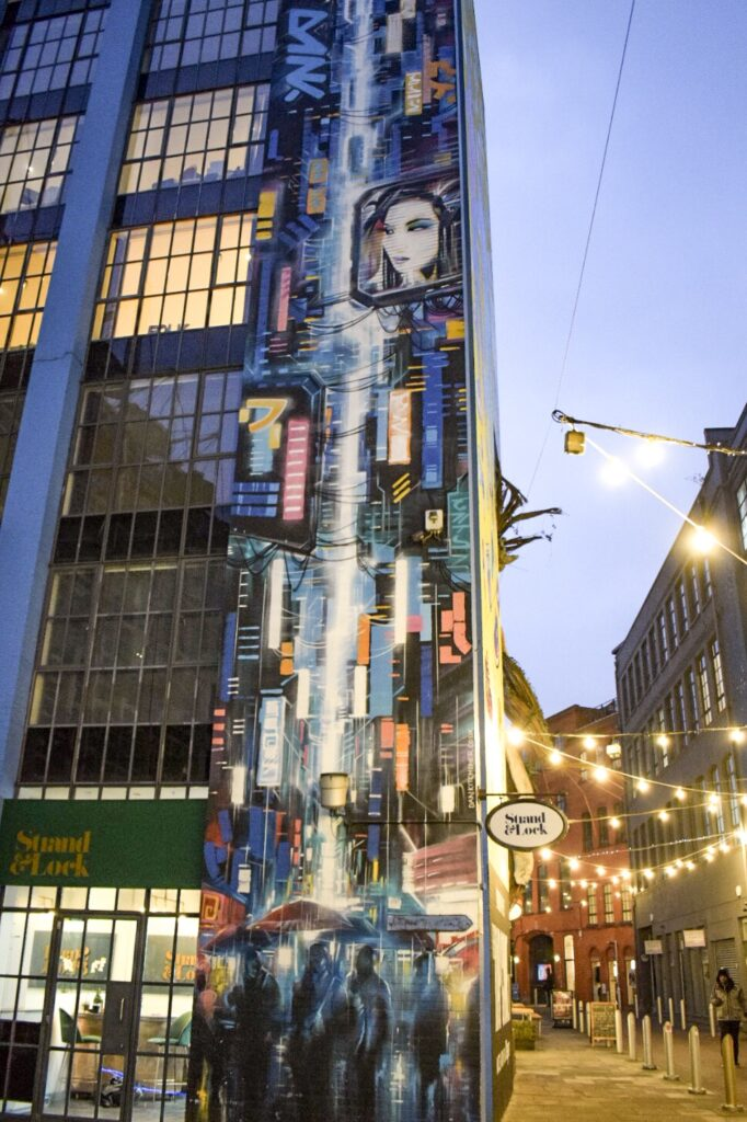 A colourful Tokyo inspired high rise mural in the Custard Factory, Birmingham, by street artist Dan Kitchener.