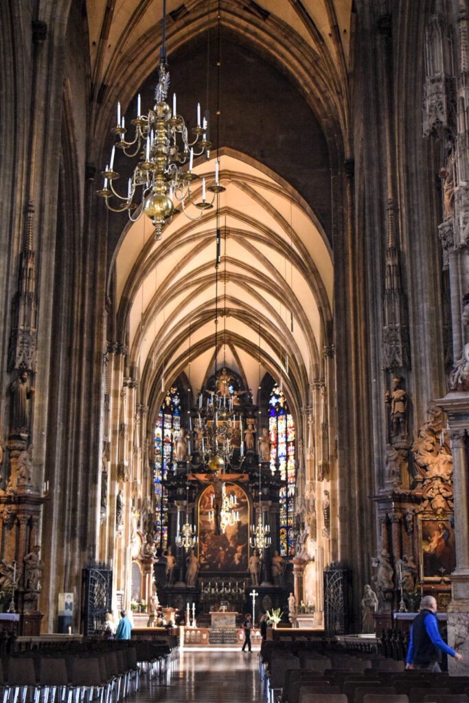 The interior of St Stephen's Cathedral, Vienna, a must do if you only have 72 hours in Vienna.