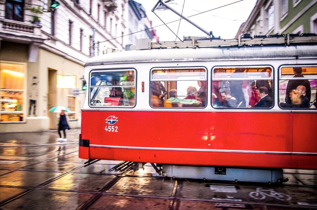 An old fashioned red tram in Vienna.