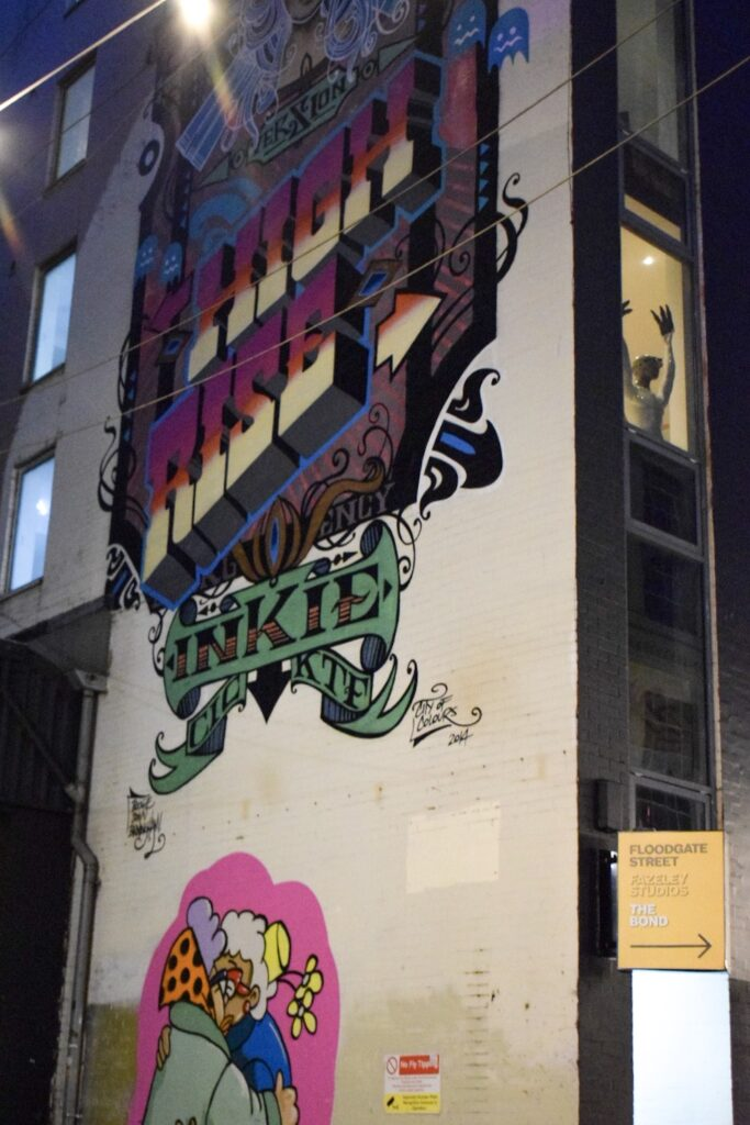 A building in the Custard Factory with Street Art from Inkie and McKee.