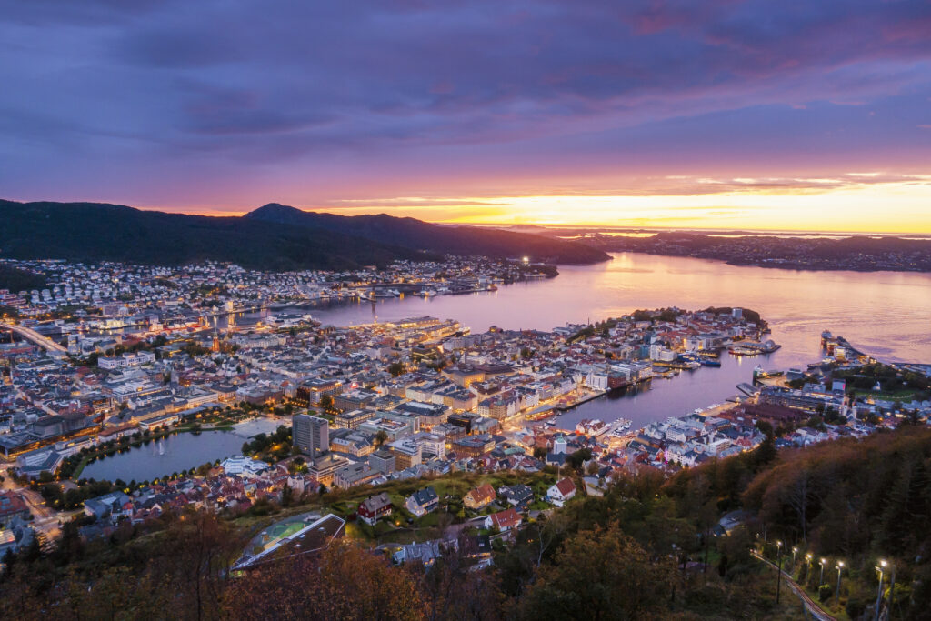A stock image view of Bergen city from above. A guide to spending 5 days in Bergen.